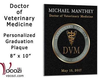 "Veterinary Medicine School Graduation Gift   Personalized 8"" x 10"" Plaque Veterinarian"