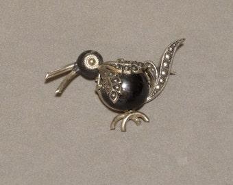 Vintage Penguin Bird Pin Brooch Black Enamel Marcasites Silver Metal Eloxal Aluminum Signed Made in West Germany Bird Jewelry