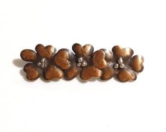 Vintage Copper Flower Bar Pin Brooch Native American Southwest Handmade Genuine Copper Jewelry
