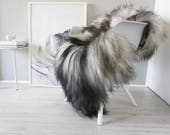Natural Genuine GIANT XXL Rare Breed Icelandic Sheepskin Rug - Blacky Brown | Grey | White Mix - Soft Long Wool - SI 230