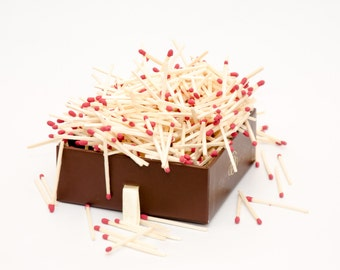 Dark red (Bordo) tip wooden matches for matchhouse making, matchbox filling, crafts