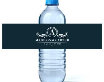 Monogram Water - Monogram Water Labels - Wedding Water Labels - Wedding Favors - Custom Water Bottle Labels Wedding