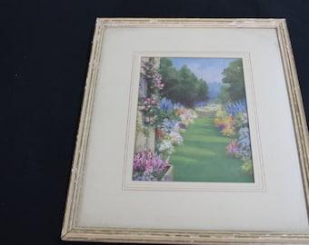 vintage wooden framed garden print