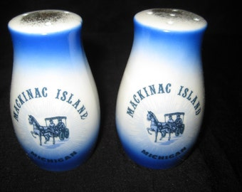 Vintage salt and pepper shakers, Souvenir of Mackinac Island, Michigan, collectible S & P, cobalt blue, 1463