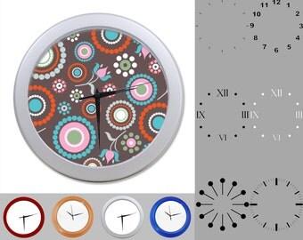 Crazy Radial Wall Clock, Abstract Brown Design, Circular Art, Customizable Clock, Round Wall Clock, Your Choice Clock Face or Clock Dial
