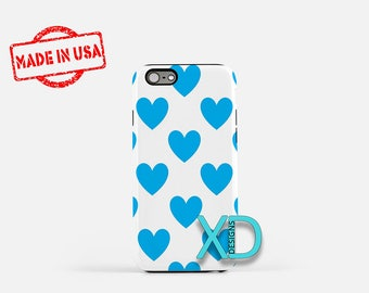 Teal Heart iPhone Case, Blue Heart Pattern iPhone Case, Heart iPhone 8 Case, iPhone 6s Case, iPhone 7 Case, Phone Case, Safe Case, SE Case