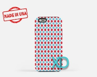 Red and Blue Phone Case, Red and Blue iPhone Case, Diamond iPhone 7 Case, White, Diamond iPhone 8 Case, Red and Blue Tough Case, Clear Case