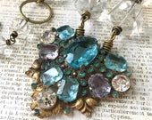 Upcycled Turquoise Rhinestone Statement Necklace | Vintage Dress Clip | Antique Czech Glass Beads | Vintage Wedding Cocktail Necklace