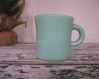 1940's Fire King// Thick Walled Jadeite Mug//