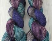 "Hand dyed ""Stormy Seas"" 120grams SW Merino/Yak/Silk fingering yarn"