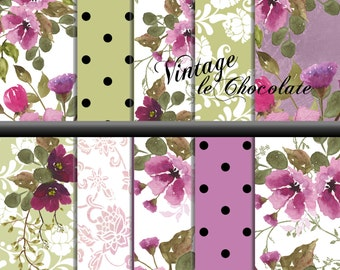 Watercolor Scrapbook Paper, Floral Digital Paper, Lilac Floral Paper, Pink and Purple Flower Paper Shabby Chic Scrapbook Paper. No. P161