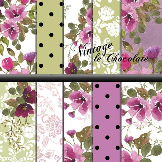 Watercolor Scrapbook Paper, Floral Digital Paper, Lilac