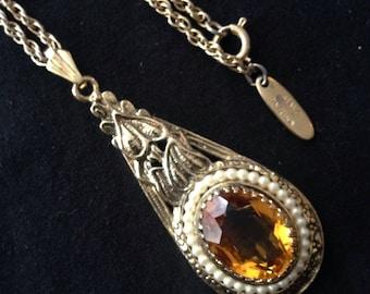 Vtg 60s Whiting and Davis Boho Amber Glass Pendant