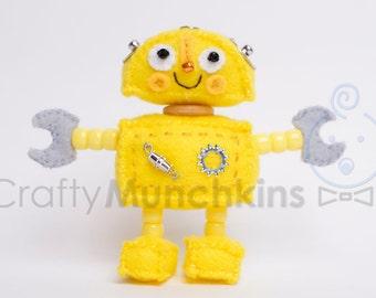 Cute Yellow Plush Felt Robot