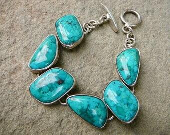 Turquoise Bracelet, Taxco Mexico Silver, Sterling Bracelets, Citlal Castillo, Taxco, Taxco Silver, Turquoise Jewelry, Margot de Taxco