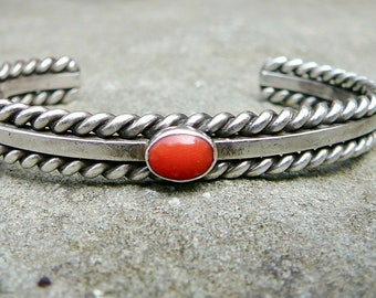 Vintage Coral and Silver Native American Cuff, Navajo Coral Bracelet, Native American Signed Jewelry, Sterling Silver and Coral Cuff