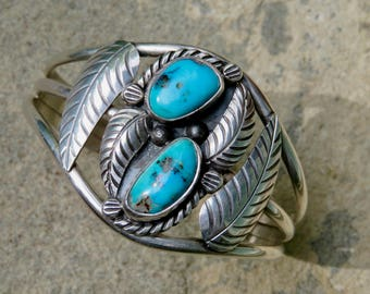 Turquoise and Silver Navajo Cuff, Vintage Native American Turquoise Jewelry, Artisan Signed Navajo Bracelet, Handmade Turquoise Bracelet