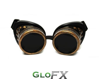 GloFX Copper Steampunk Padded Goggles Rave Welding Cyber Punk Goth Dieselpunk Burning Glasses