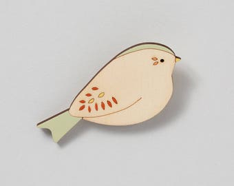 Wooden Bird Brooch - Bunting