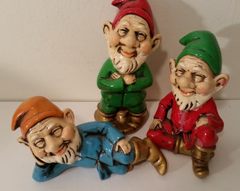 Vintage Elf Collection, Painted Plaster Elf Figurines, Naughty 70's Elf NOS,Red, Green, Blue, Christmas Elves Made in Japan 6""