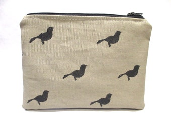 Canvas Bird Print Bag / Small Handmade Handbag