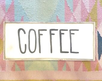 Mini COFFEE black and white rustic wood sign