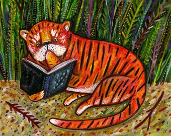 Tiger is Reading Your Diary! Print - Secret Print - Cat Print - Jungle Print - Orange Print - Reading Print - Kids Room Print - Giclee Print
