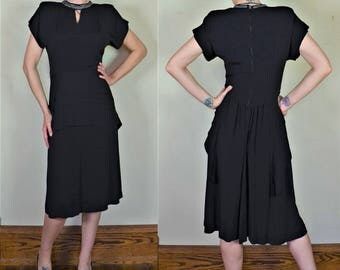 """1940s Black Rayon Dress with Beaded Keyhole Neckline and Swallowtail Back Bust 39"""""""