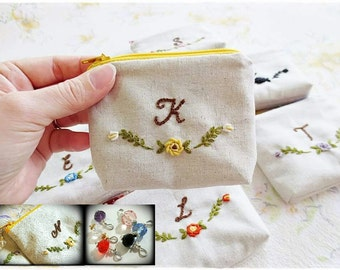 Monogram hand embroidered zip pouch purse makeup pouch rose flower hand embroidery gift bridesmaids personalised gift free crystal charm
