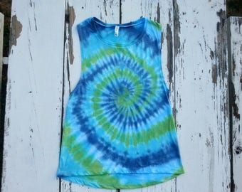 Tie Dye Muscle Tank // Blue and Green Spiral // Tie Dye Tank // Women's Flowy Tank