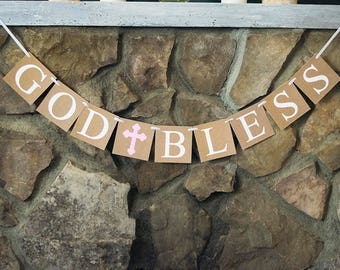 First Holy Communion Decor, Confirmation Sign, God Bless Banner, Christening Decor,  P131