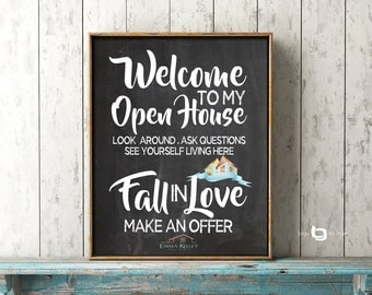 Realtor Open House Print, Realtor Open House Sign Print, House For Sale Print, Real Estate Welcome Sign, Fancy Realtor Print, Open House
