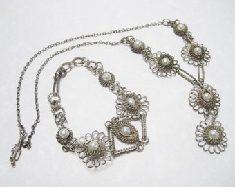 Vintage Artisan Silver Wire Necklace w/ Matching Bracelet