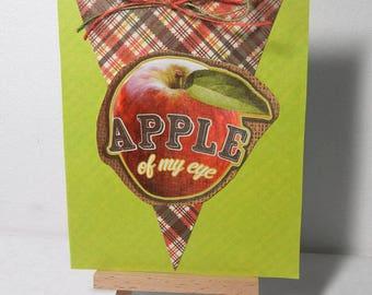 Teacher Card, Handmade Greeting Card, Apple Card, Blank Card : You're the Apple of My Eye, Handmade Card with Apple and Plaid Banner Design