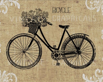 Woman''s Bicycle Paris flower basket printable image for iron on fabric transfer burlap pillows totes decoupage scrapbook cards No. gt198
