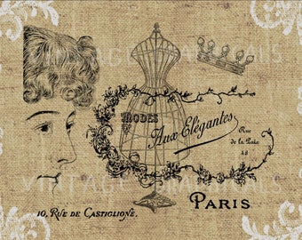 Paris fashion decor Printable graphic Digital download Image for iron on transfer burlap decoupage scrapbook pillow tote card paper No gt271
