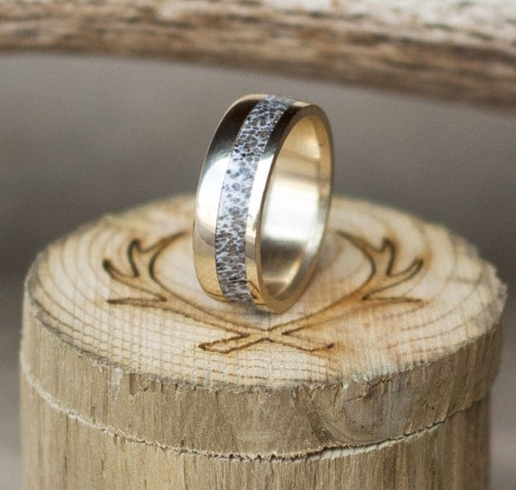 10K Yellow Gold Amp Elk Antler Wedding Band Staghead Designs