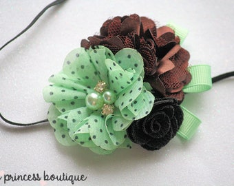 Mint Chocolate Chip - Headband, Baby Headband, Photography Prop, Couture Headband, Hair Clip, Mint and Brown, Ice Cream Headband, Dot