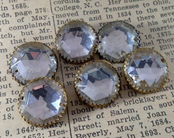 Vintage Clear Glass Buttons with Metal Shanks - Round Faceted Stones in Settings - Crystal, Rhinestones, Sew Ons - Tarnishing, Patina -Qty 6