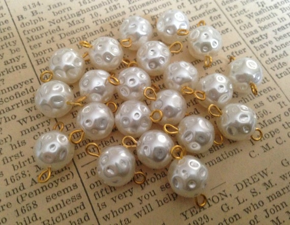 Vintage Pearl Connector Beads - Faux Plastic Pearls - Dimple, Baroque - Eye Pins - Made in Japan - 10mm - Qty 20