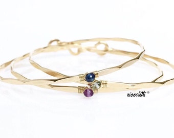Birthstone Bracelet Trio / Delicate 14k Gold filled or Sterling Silver Bangles / Birthstone Bracelets / Mothers Jewelry Gift Valentines Day
