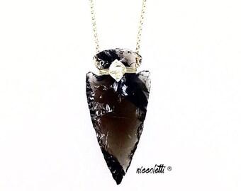 Obsidian Arrowhead Necklace  / Natural Raw Jewelry / Raw Gemstone Jewelry / Boho Wedding Jewelry / Herkimer Diamond / April Birthstone Gift