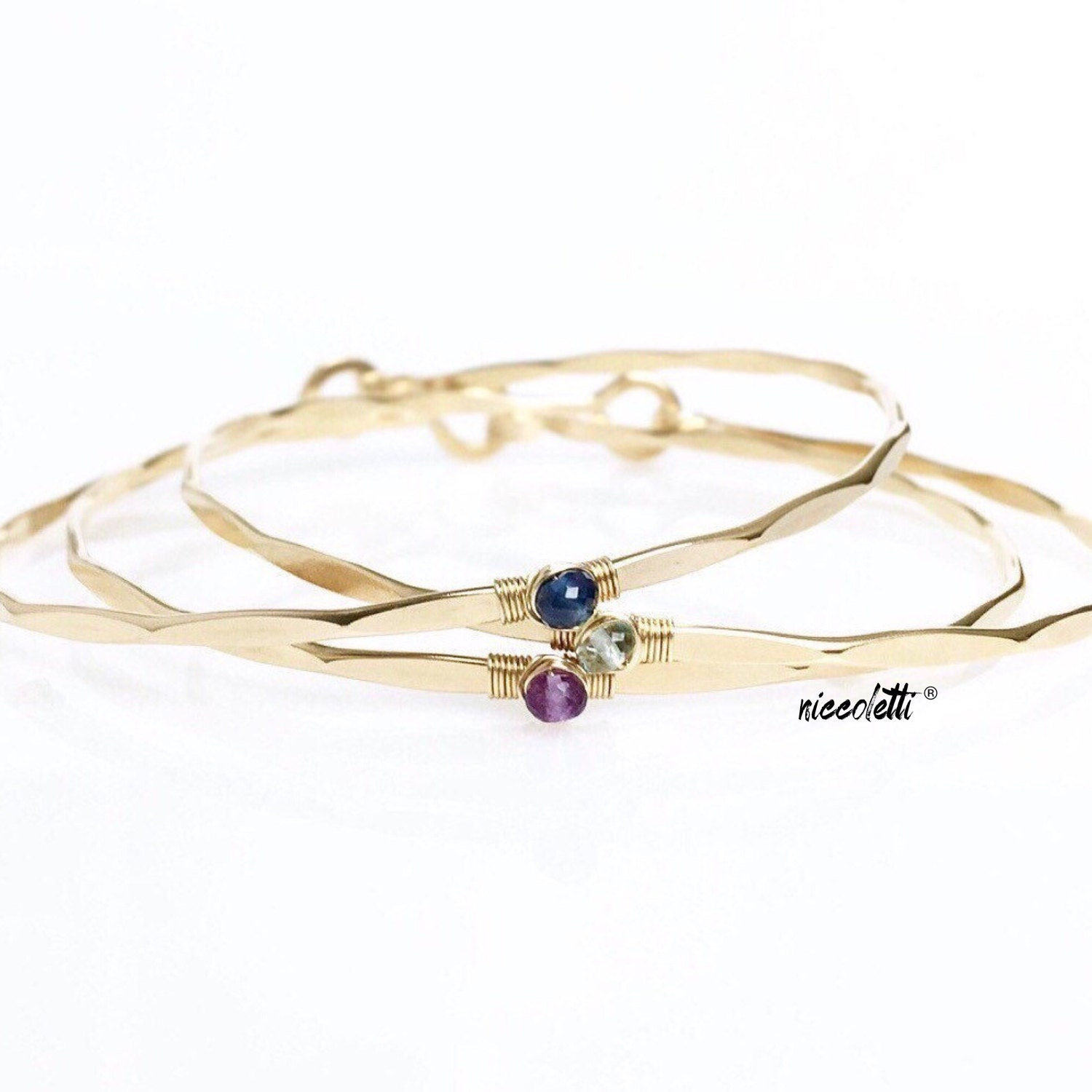 Gemstone Bracelet Trio / 14k Gold filled or Sterling Stacking Bangles / Birthstone Bracelets / Mothers Jewelry / Gemstone Skinny Bangles