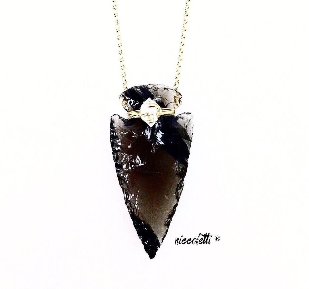 Obsidian Arrowhead Necklace  / Bohemian Jewelry / Raw Gemstone Jewelry / Boho Wedding Jewelry / Herkimer Diamond / April Birthstone Gift