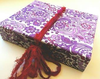 Purple Paisley, Scrapbook, Photo Album, Junk Journal, Art Journal, Boho Wedding, Smash Book, Baby Book, Wedding Album, 8 x 10 inches