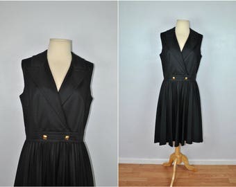 1960s Sleeveless Black Dress, Vintage Black Dress With Gold Buttons