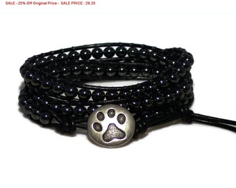 SALE - 25% Off Original Price Unisex Premium Non-Magnetic Hematite Leather Wrap Bracelet with Silver Paw Print Button, JEWELRY