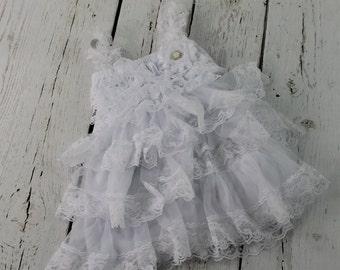 White Flower Girl Dress White Rustic Flower Girl White Jr Bridesmaid Dress White Country flower girl dress White Lace Flower girl Dress