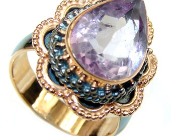 Amethyst Sterling Silver Ring - weight 7.20g - Size 7 - dim L -1, W -7 8, T -1 4 inch - code 21-sty-16-49