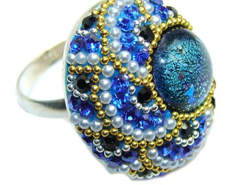 Dichroic Glass Sterling Silver Ring - weight 7.20g - Size 7 3 4 - dim L- 7 8, W - 3 4, T - 3 8 inch - code 2-sie-16-43
